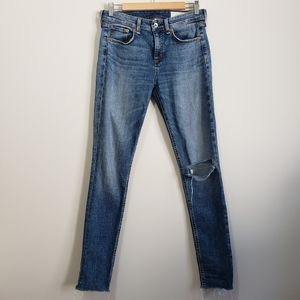 Rag and Bone high rise distressed skinny jeans 27